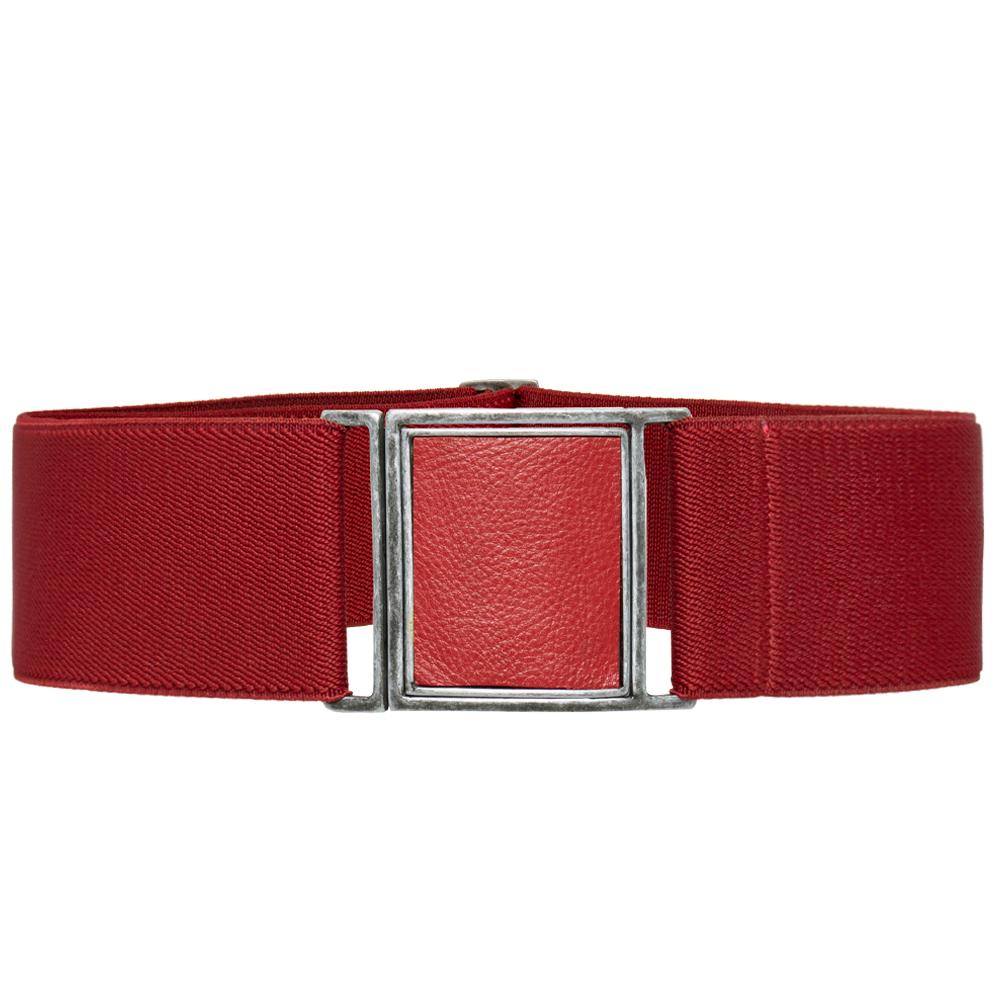 Cinto de Elástico Ajustável Vermelho com Regulagem e Fivela  Prata  com aplicação de Couro - Cintos Exclusivos - Feminino