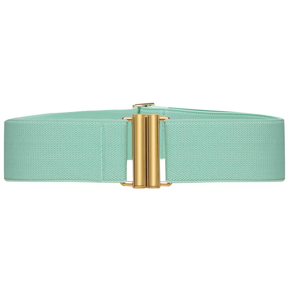 Cinto de Elástico Verde  Ajustável com Regulagem e Fivela  Ouro - Cintos Exclusivos - Feminino