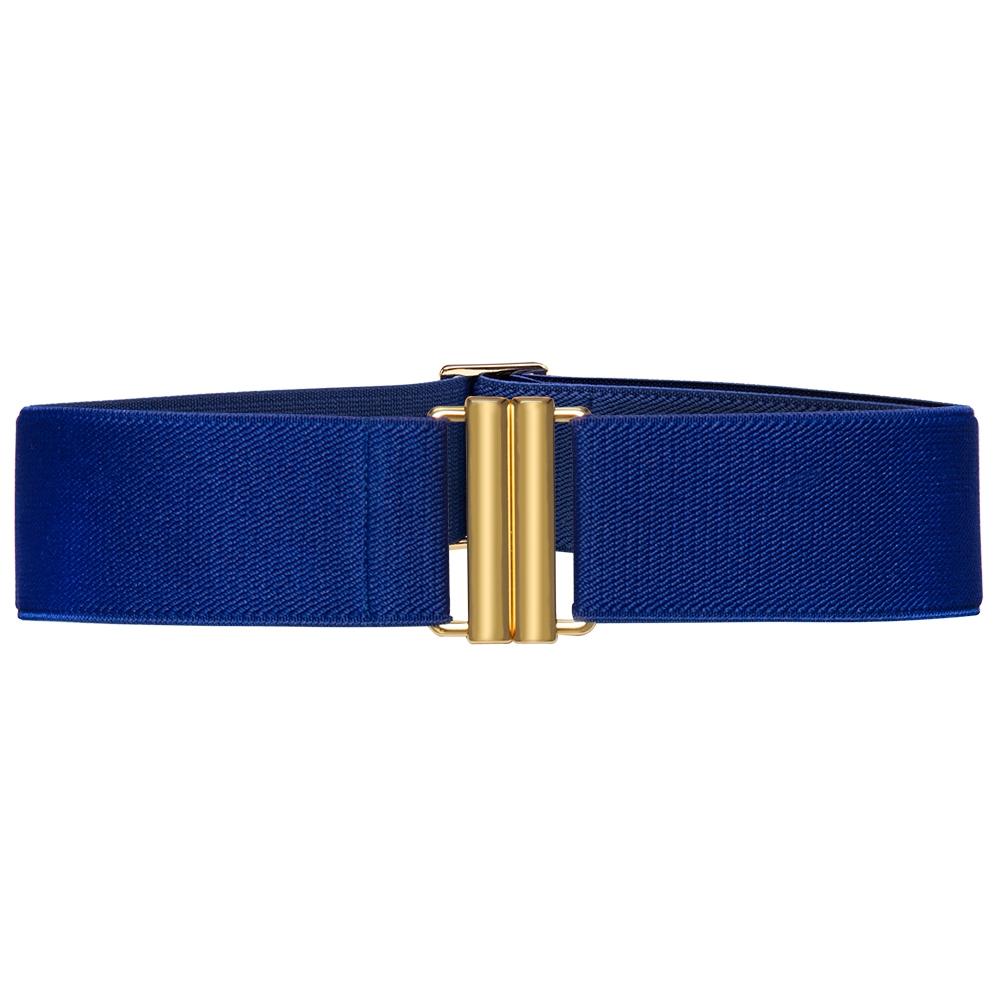 Cinto de Elástico Azul Royal Ajustável com Regulagem e Fivela  Ouro - Cintos Exclusivos - Feminino