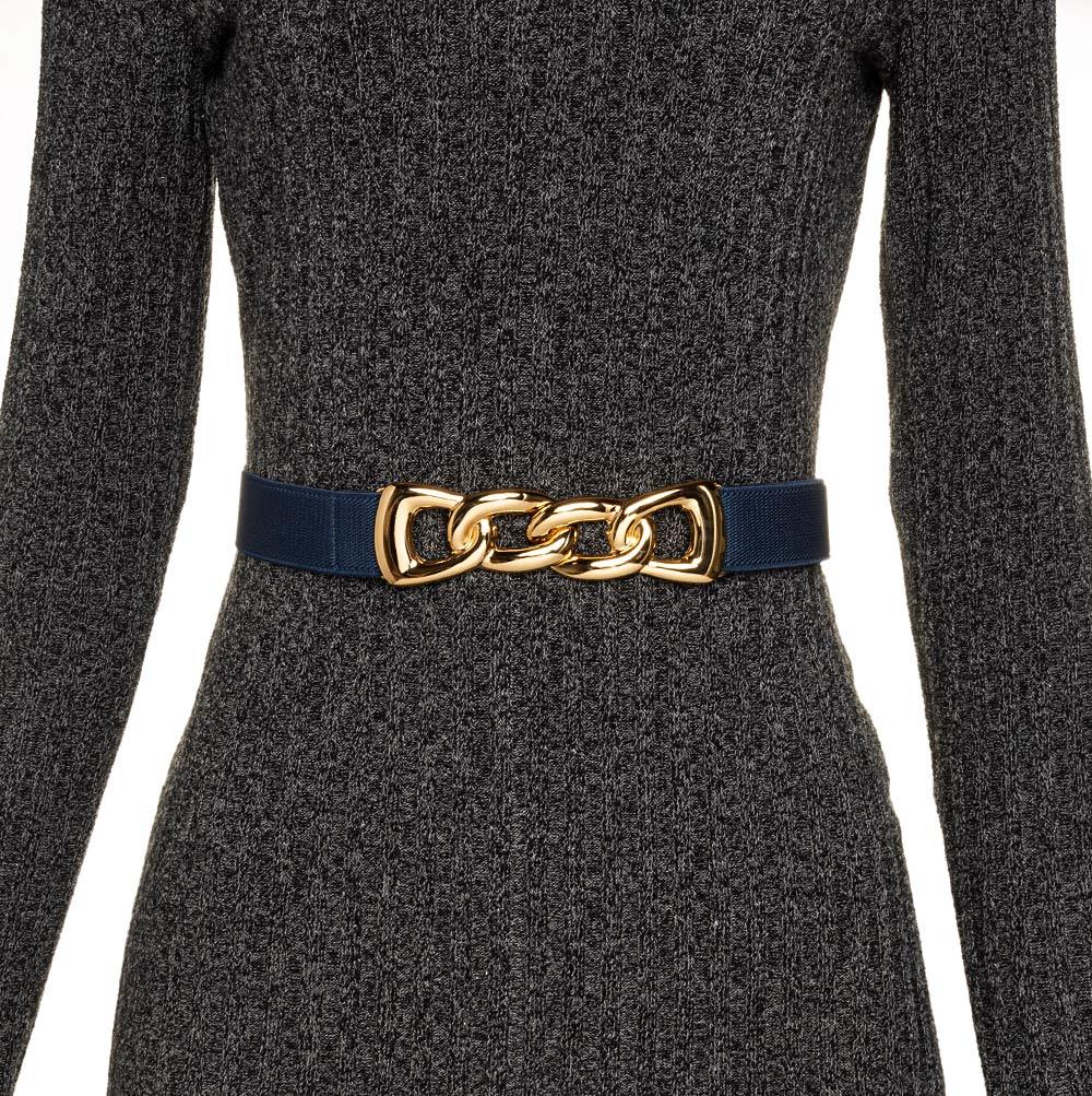 Cinto de  Elástico Azul Fino Elos com Fivela Ouro - Cintos Exclusivos VC - Feminino