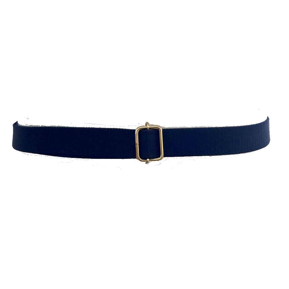Cinto de Elástico Azul Marinho Ajustável com Regulagem e Fivela Dourada - Cintos Exclusivos VC- Feminino