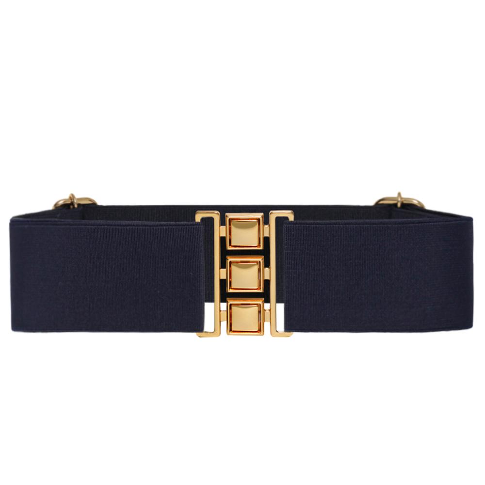 Cinto de Elástico Azul Marinho  Ajustável  com Regulagem e Fivela Dourada  - Cintos Exclusivos - Feminino