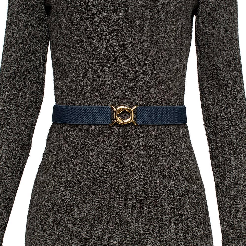 Cinto de Elástico Azul Marinho  Ajustável  Fino com Regulagem e Fivela Dourada  - Cintos Exclusivos - Feminino