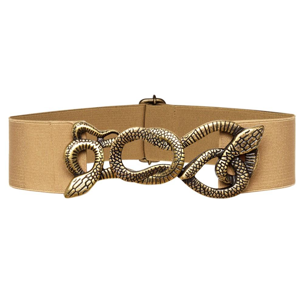Cinto de Elástico Bege  Animal Print Cobra - Cintos Exclusivos - Feminino