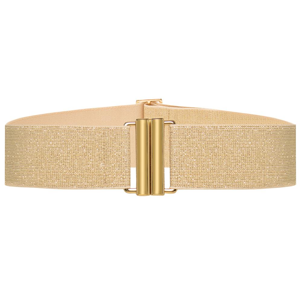 Cinto de Elástico Bege Lurex  Ajustável com Regulagem e Fivela  Ouro - Cintos Exclusivos - Feminino
