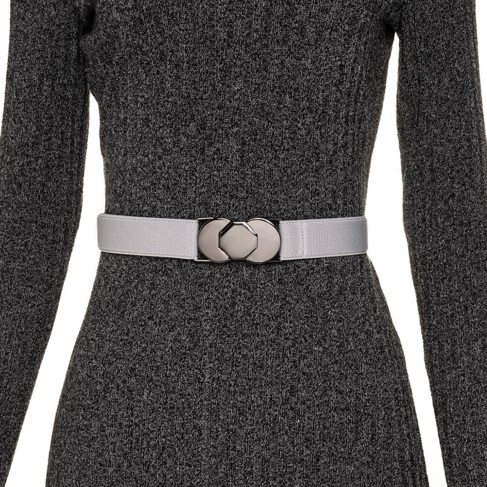 Cinto de Elástico Cinza Ajustável  Fino com Regulagem e Fivela Ônix  - Cintos Exclusivos - Feminino