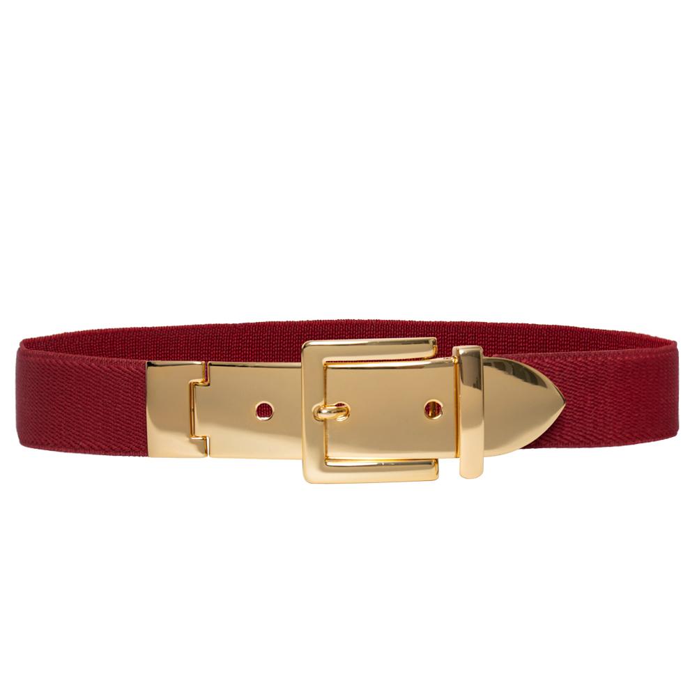 Cinto de Elástico Fino com Regulagem e Fivela Dourada - Cintos Exclusivos - Feminino