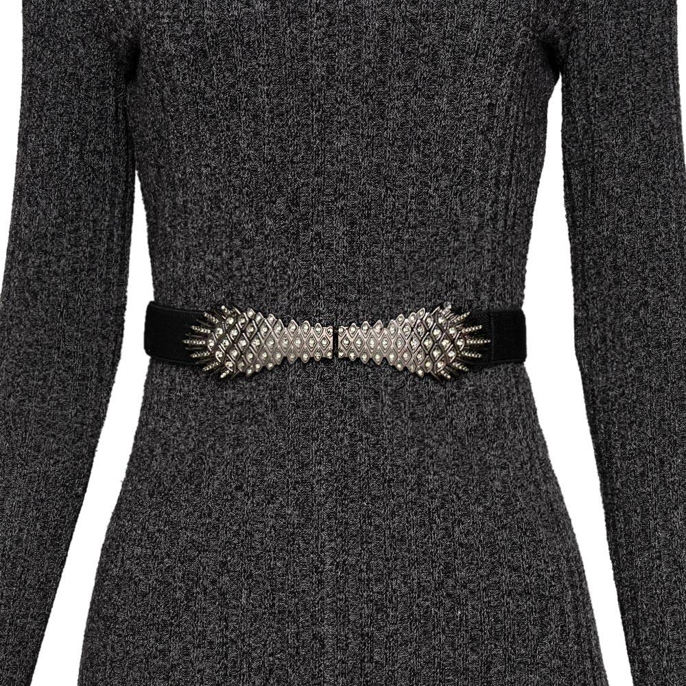 Cinto de  Elástico  Fino Preto com Fivela ônix Cintos Exclusivos - Feminino