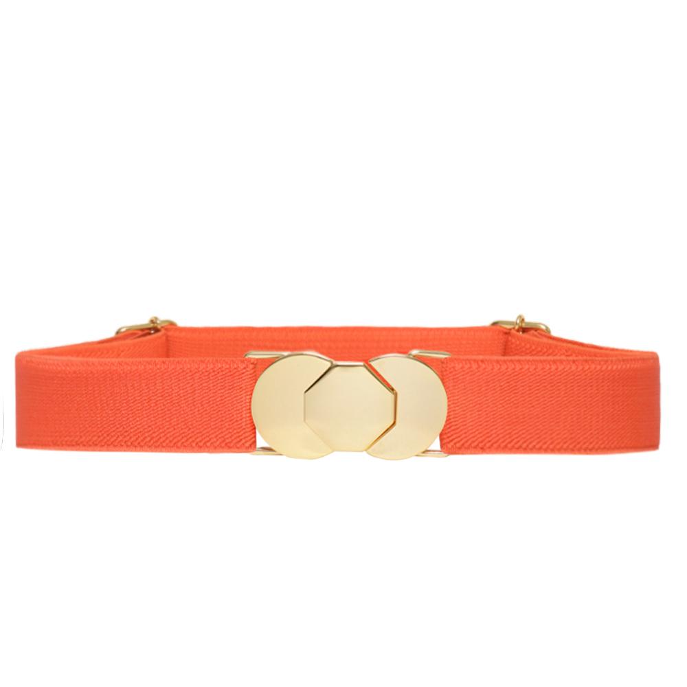 Cinto de Elástico Laranja  Fino com Regulagem e Fivela Dourada - Cintos Exclusivos - Feminino