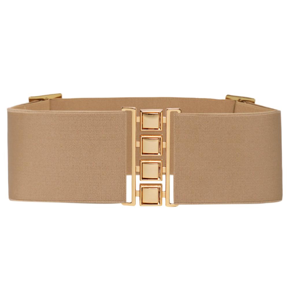 Cinto de Elástico Largo Bege 7 cm  Ajustável  com Regulagem e Fivela Dourada  - Cintos Exclusivos - Feminino