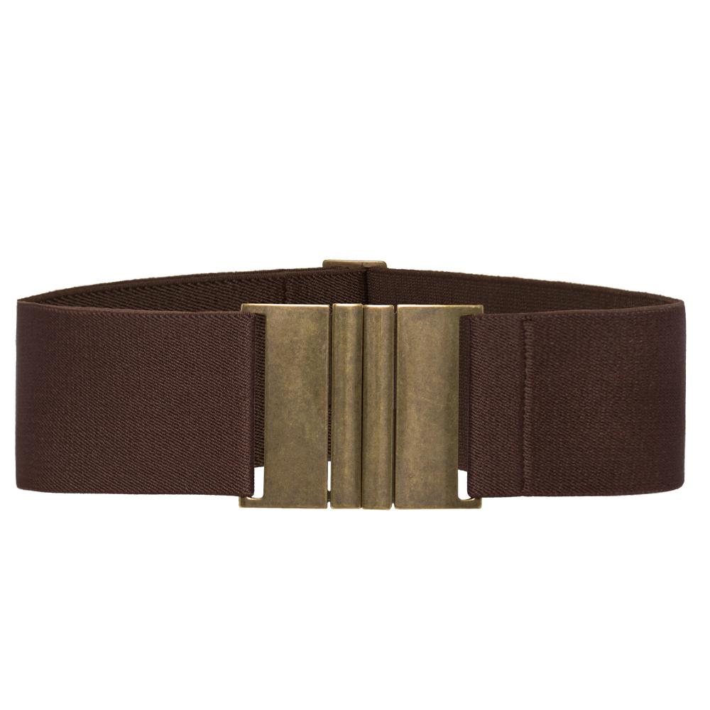 Cinto de Elástico Largo Marrom  6 cm  Ajustável  com Regulagem e Fivela Ouro Velho  - Cintos Exclusivos - Feminino