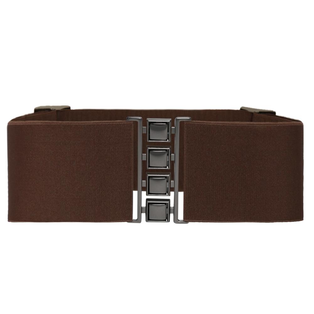 Cinto de Elástico Largo Marrom 7 cm  Ajustável  com Regulagem e Fivela Ônix  - Cintos Exclusivos - Feminino