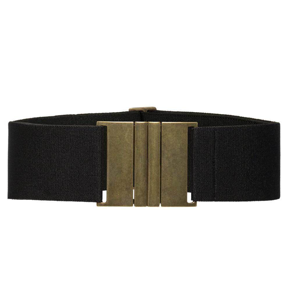 Cinto de Elástico Largo Preto  6 cm  Ajustável  com Regulagem e Fivela Ouro Velho  - Cintos Exclusivos - Feminino
