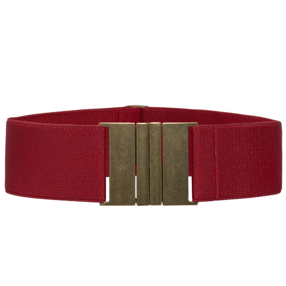 Cinto de Elástico Largo Vermelho  6 cm  Ajustável  com Regulagem e Fivela Ouro Velho  - Cintos Exclusivos - Feminino