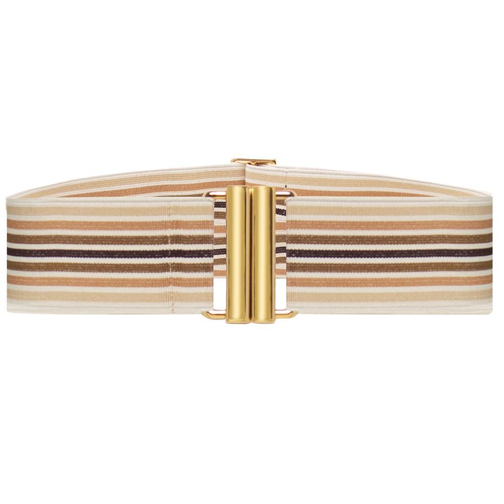 Cinto de Elástico Listrado  Ajustável com Regulagem e Fivela  Ouro - Cintos Exclusivos - Feminino