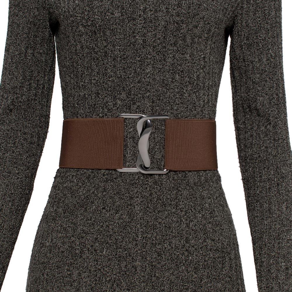 Cinto de Elástico Marrom, Ajustável com Regulagem e Fivela  ônix - Cintos Exclusivos - Feminino