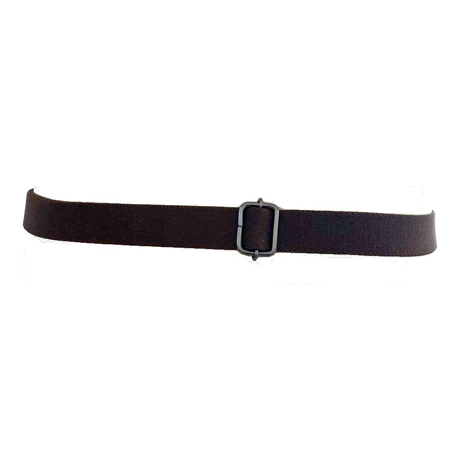 Cinto de Elástico Marrom Ajustável com Regulagem e Fivela Prata Velho - Cintos Exclusivos - Feminino
