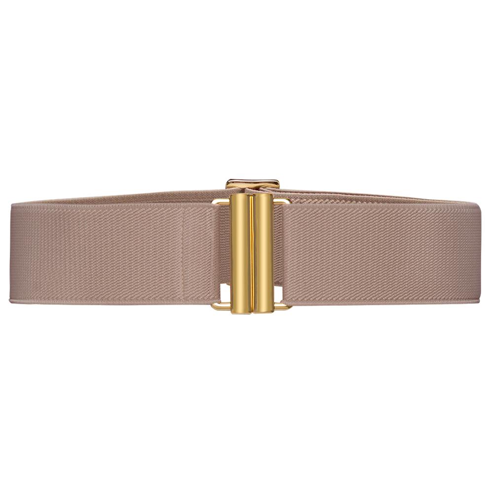 Cinto de Elástico Nude Ajustável com Regulagem e Fivela  Ouro - Cintos Exclusivos - Feminino