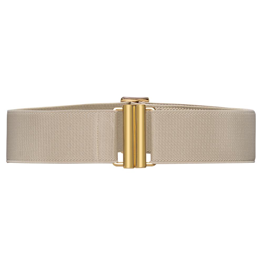 Cinto de Elástico Off White Ajustável com Regulagem e Fivela  Ouro - Cintos Exclusivos - Feminino