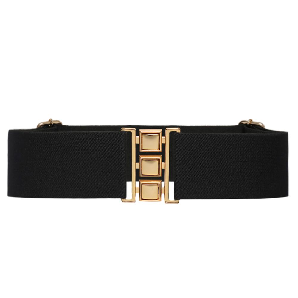 Cinto de Elástico Preto  Ajustável  com Regulagem e Fivela Dourada  - Cintos Exclusivos - Feminino
