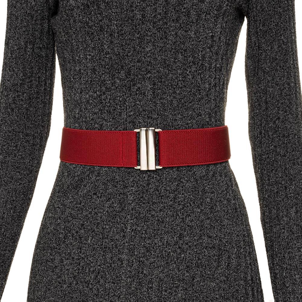 Cinto de Elástico Vermelho Ajustável com Regulagem e Fivela Prata - Cintos Exclusivos - Feminino