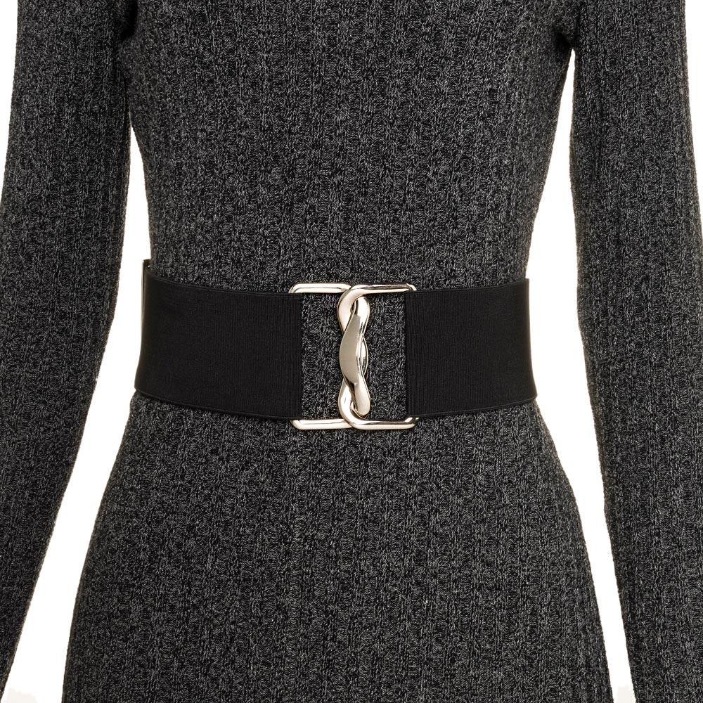 Cinto Largo de Elástico Preto Ajustável com Regulagem e Fivela  Prata - Cintos Exclusivos - Feminino