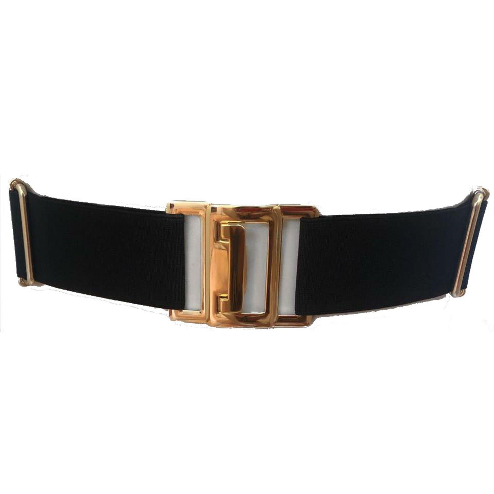 Cinto de Elástico Preto Ajustável com Regulagem e Fivela  Ouro  - Cintos Exclusivos - Feminino