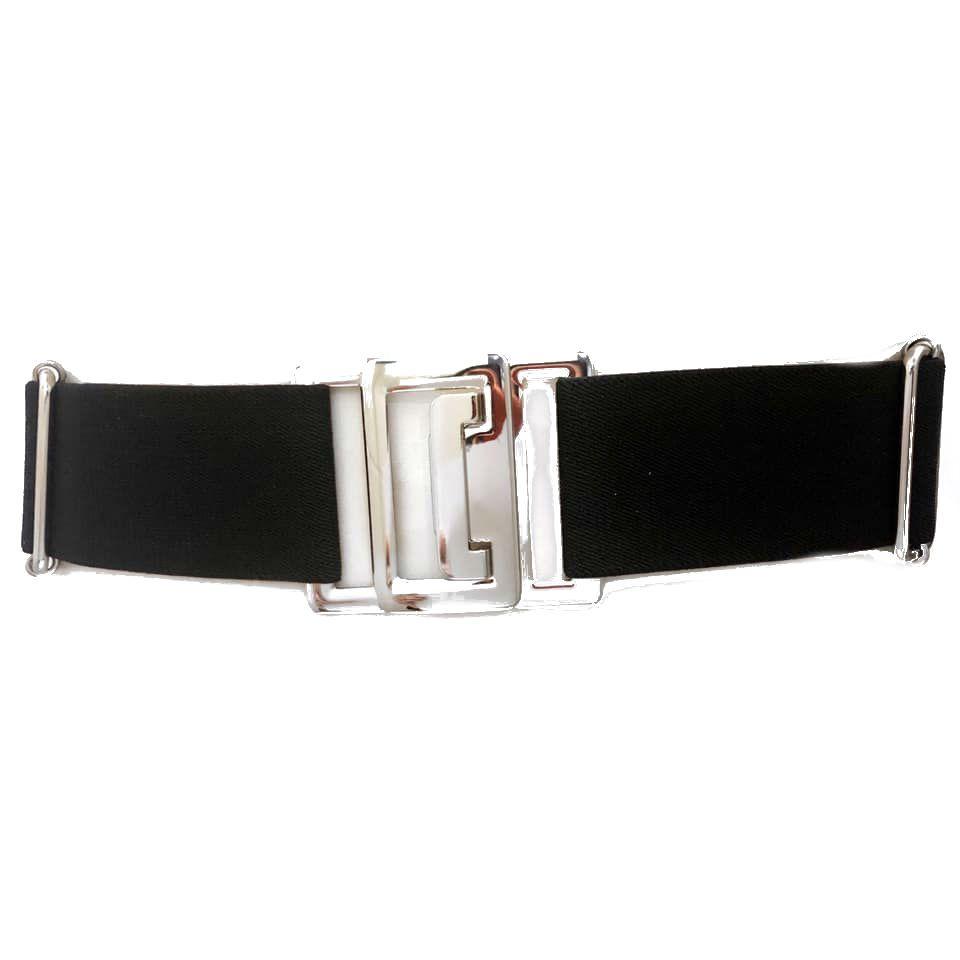 Cinto de Elástico Preto Ajustável com Regulagem e Fivela  Prata - Cintos Exclusivos - Feminino