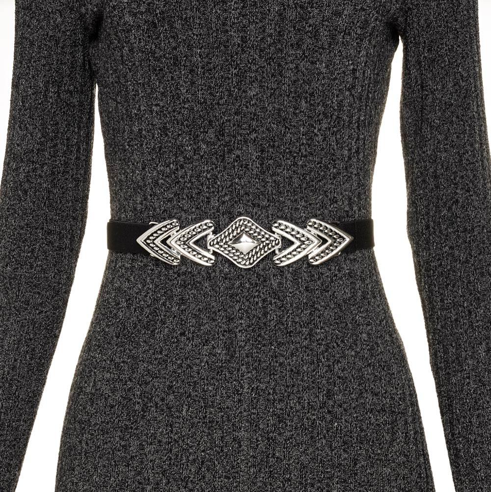 Cinto de Elástico Preto Ajustável  Fino com Regulagem e Fivela Prata - Cintos Exclusivos - Feminino