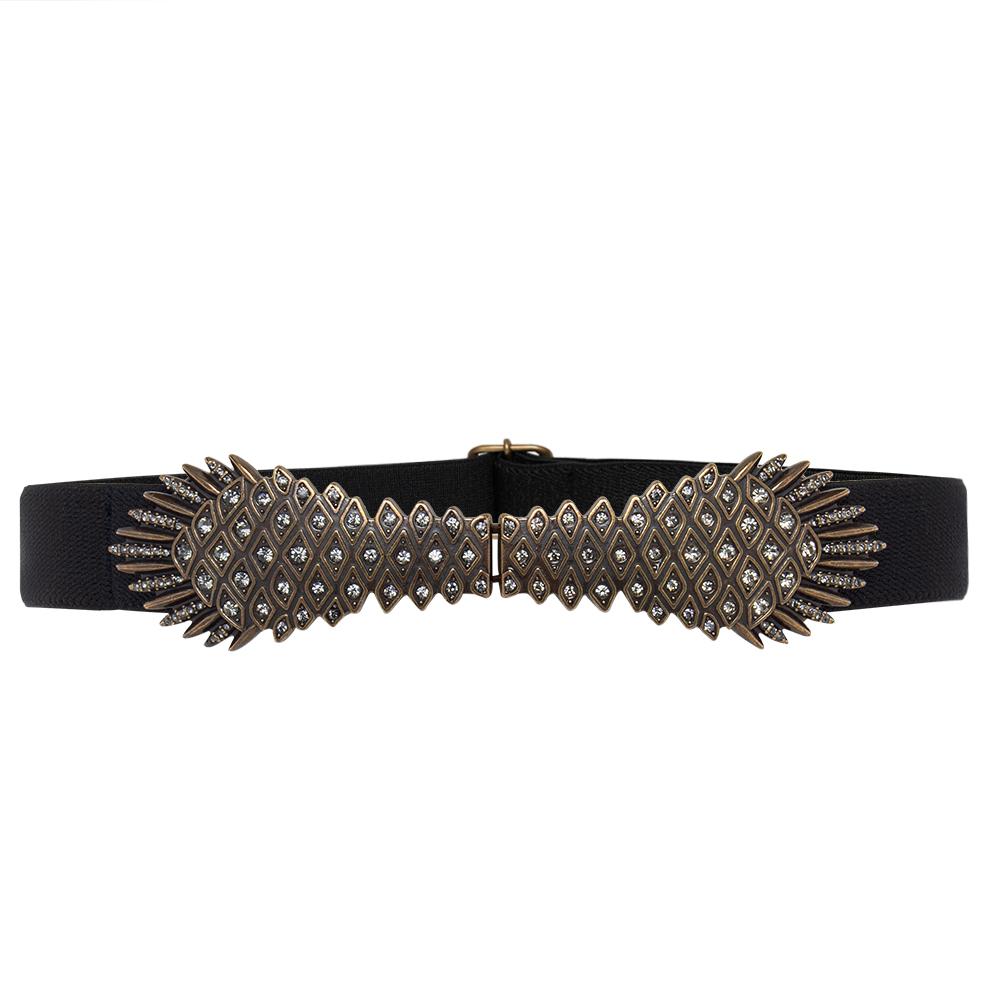 Cinto de  Elástico Preto com Fivela Ouro Velho- Cintos Exclusivos - Feminino