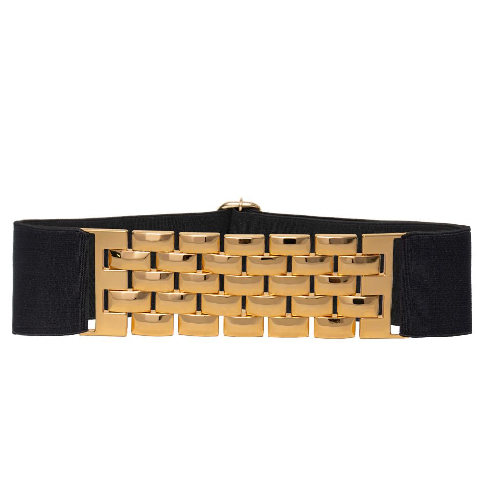 Cinto de Elástico Preto com detalhe em trama dourado   - 5,0 cm -Cintos Exclusivos VC - Feminino