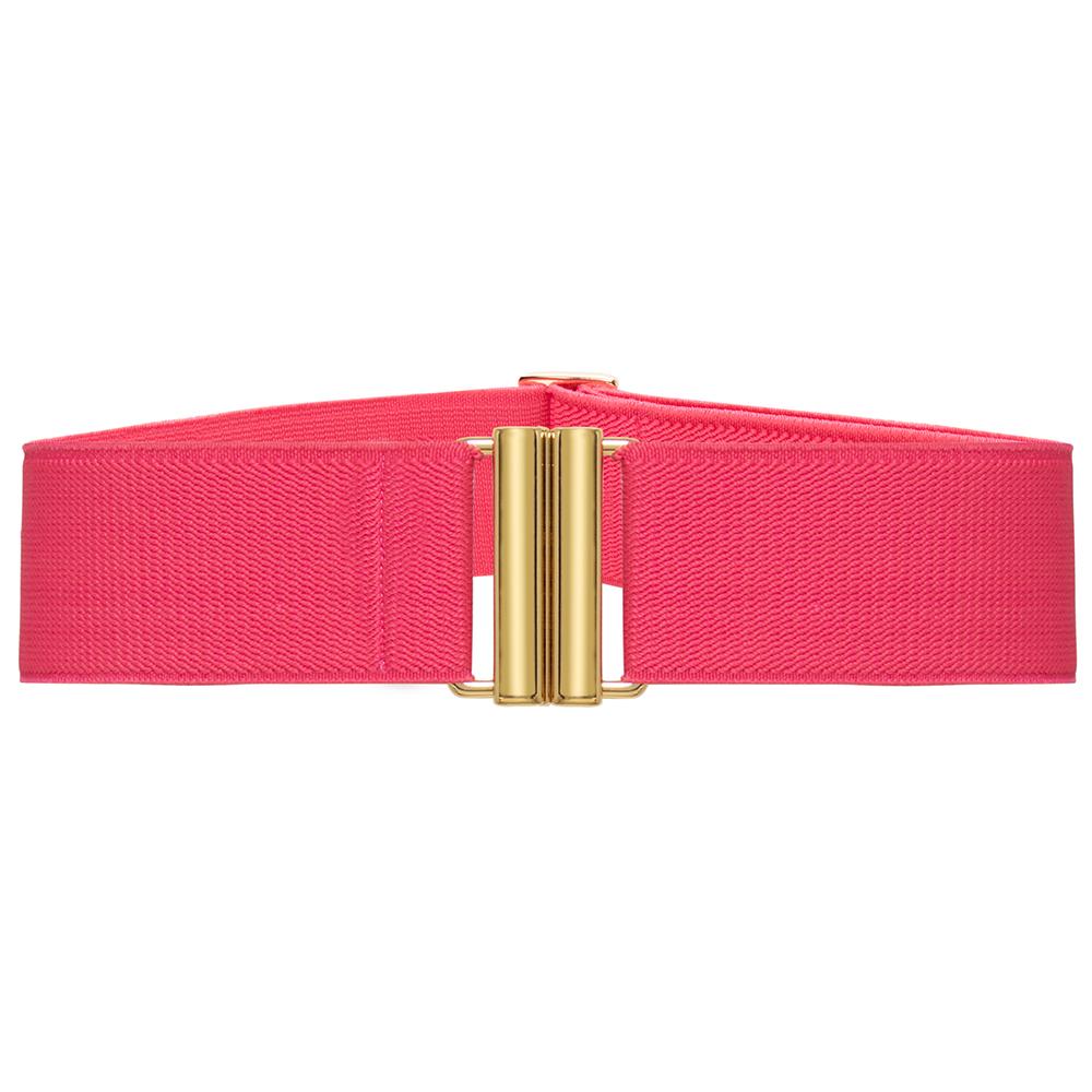 Cinto de Elástico Rosa  Ajustável com Regulagem e Fivela  Ouro - Cintos Exclusivos - Feminino