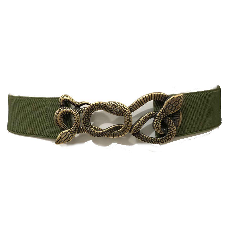 Cinto de  Elástico Verde  Animal Print Cobra - Cintos Exclusivos - Feminino