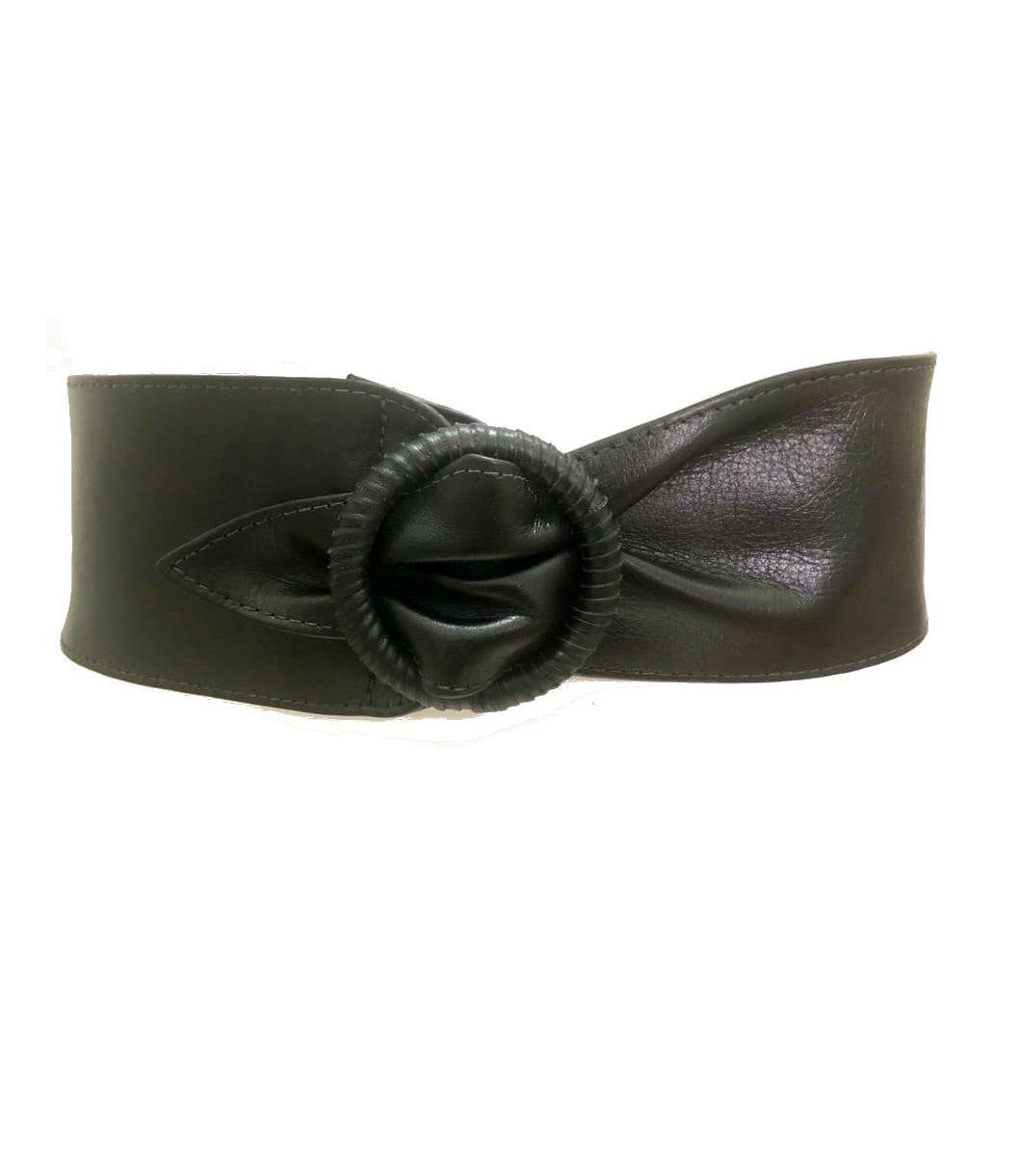 Cinto Faixa de Couro Preto -  8 cm - Cintos Exclusivos - Feminino