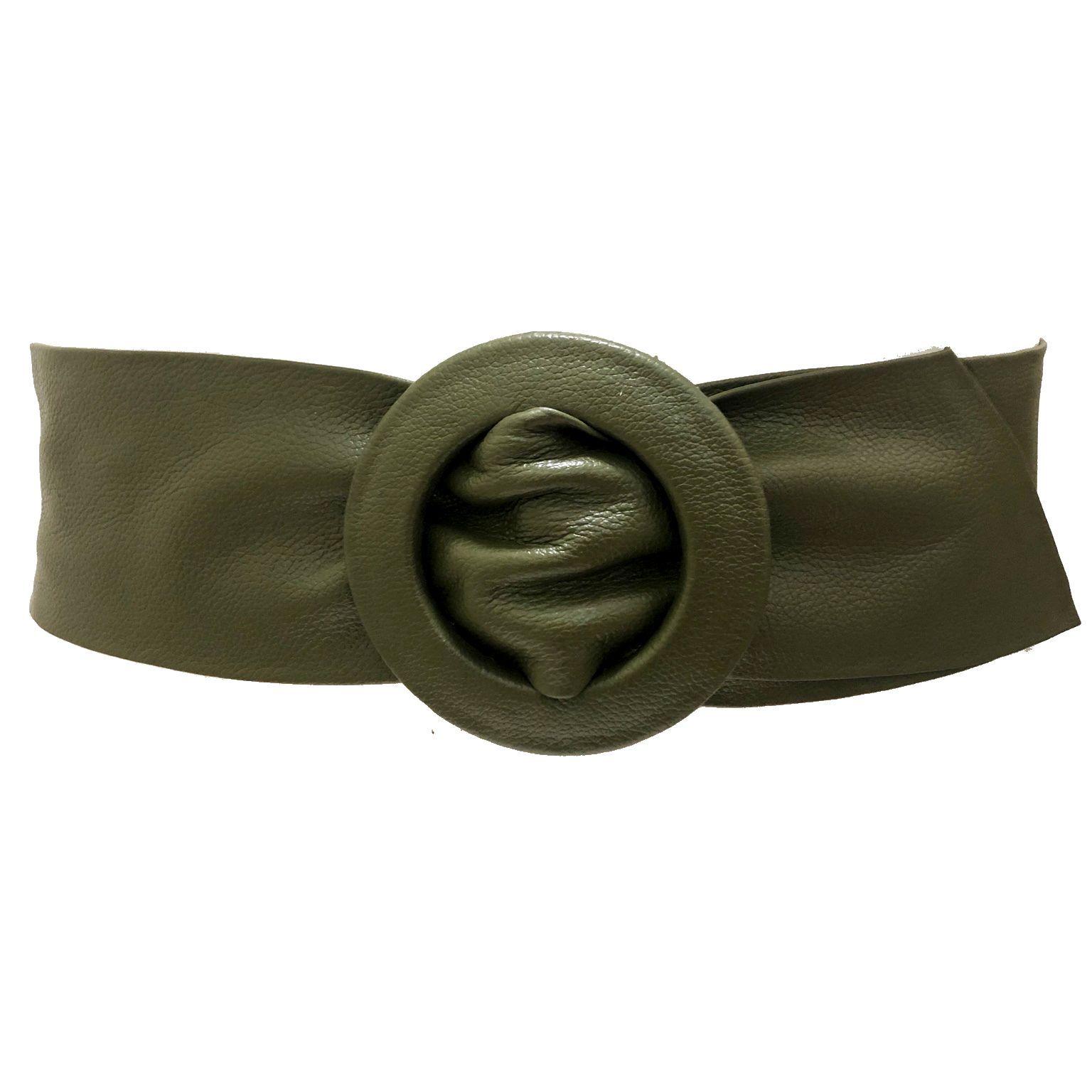 Cinto Faixa de Couro  Verde - Cintos Exclusivos - Feminino