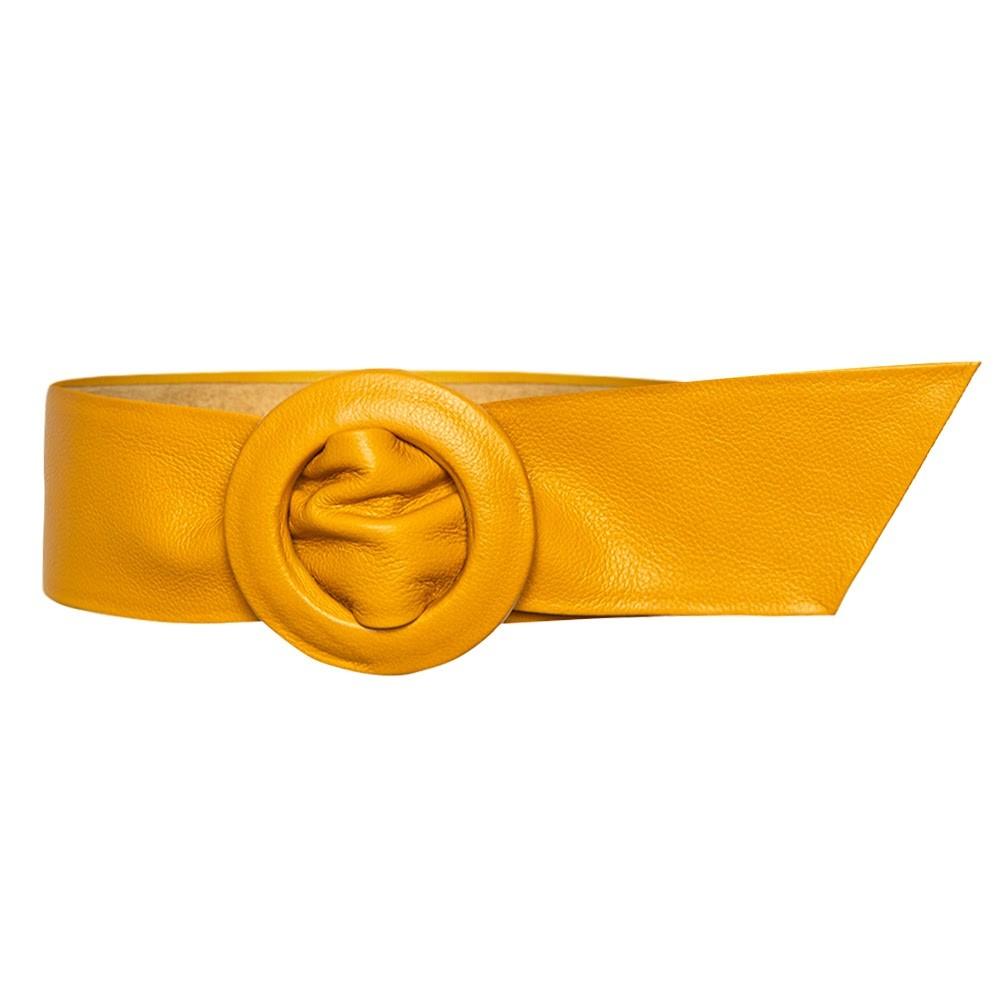Cinto Faixa  Largo de Couro Amarelo Encapada -  7 cm - Linha Premium VC - Feminino
