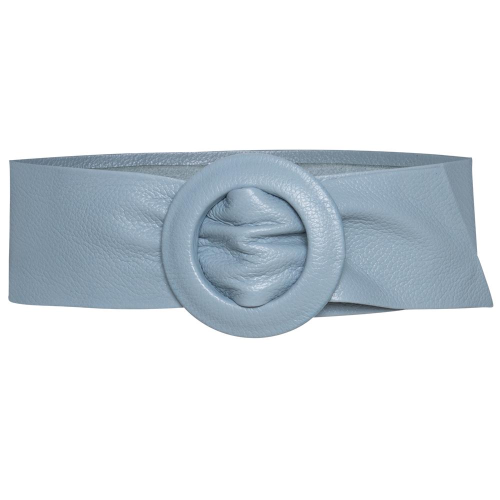 Cinto Faixa de Couro Azul - 7 cm -Cintos Exclusivos - Feminino