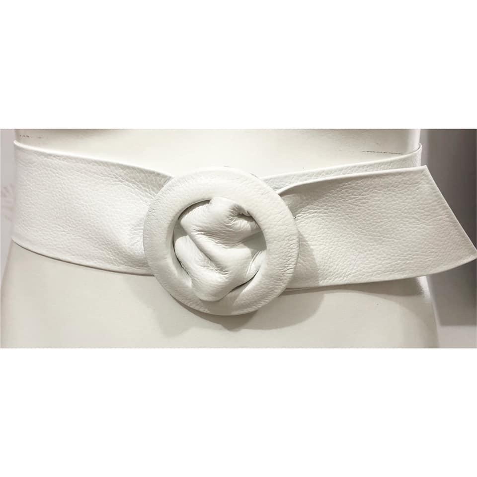 Cinto Faixa de Couro Branco - 7 cm -Cintos Exclusivos - Feminino