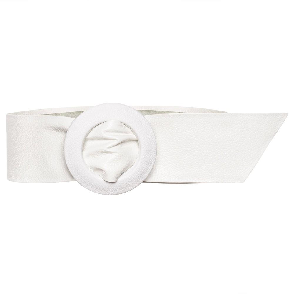Cinto Faixa Largo de Couro Branco Encapada - 7 cm - Linha Premium VC - Feminino