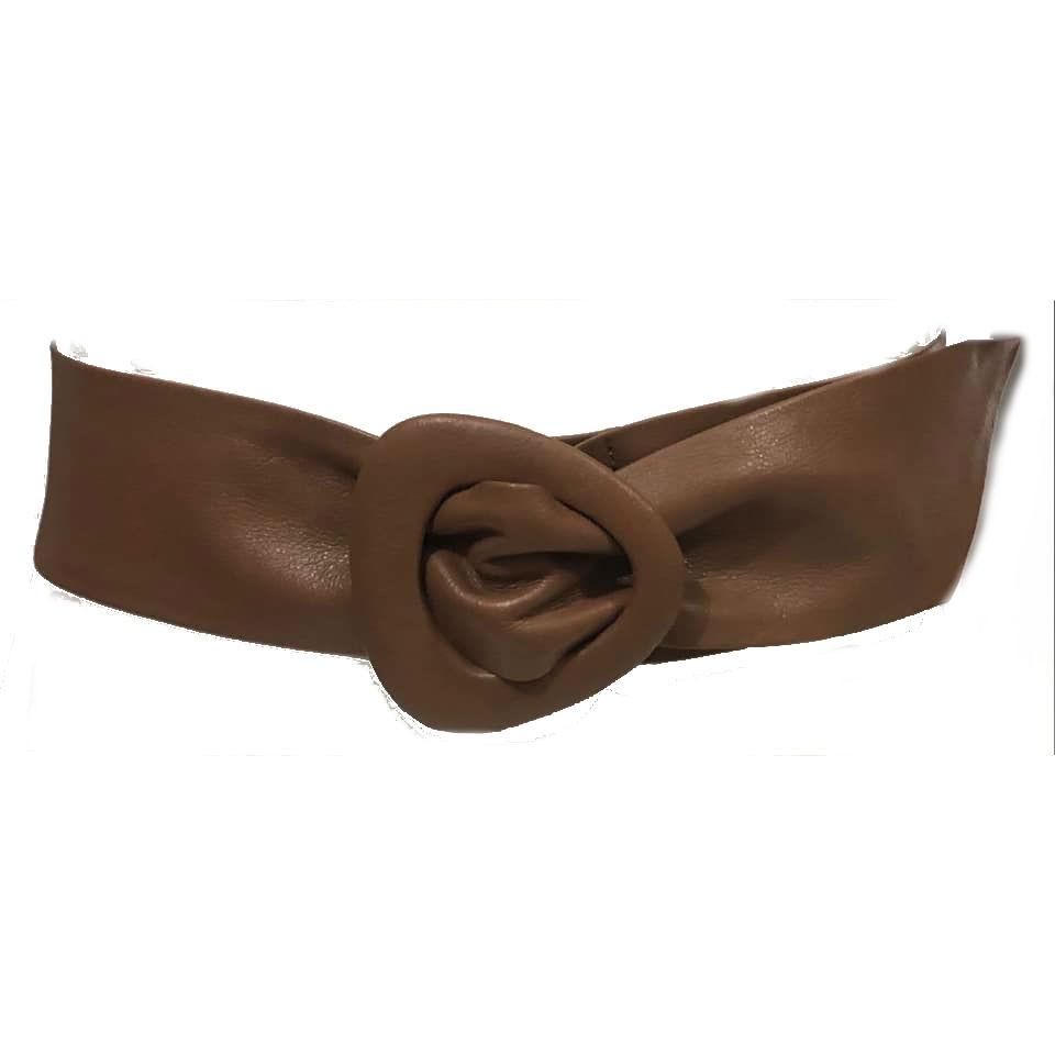 Cinto Faixa de Couro  Caramelo  -  7 cm - Cintos Exclusivos - Feminino