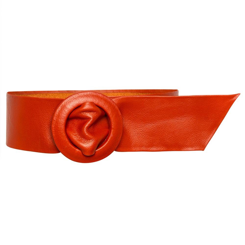 Cinto Faixa Largo de Couro Laranja Encapada- 7 cm -Cintos Exclusivos - Feminino