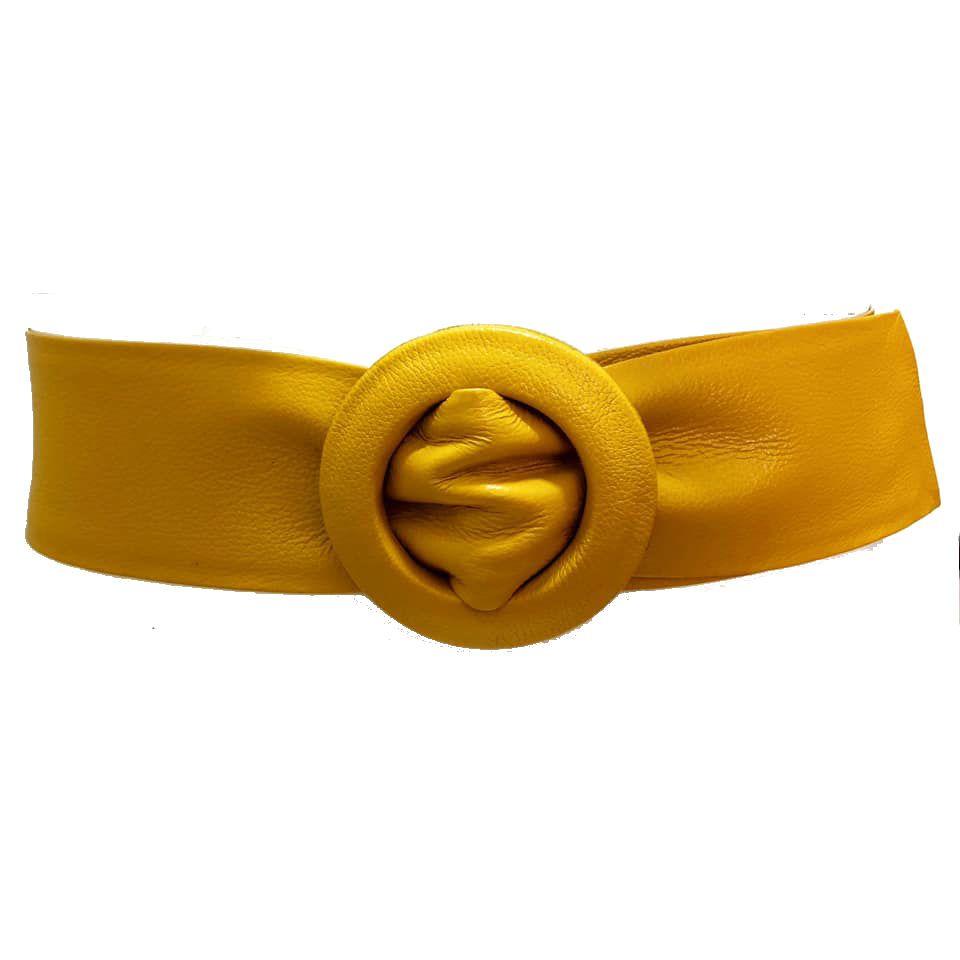 Cinto Faixa de Couro Amarelo  -  7 cm - Cintos Exclusivos - Feminino