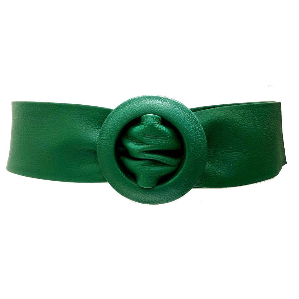 Cinto Faixa de Couro Verde - 7 cm -Cintos Exclusivos - Feminino