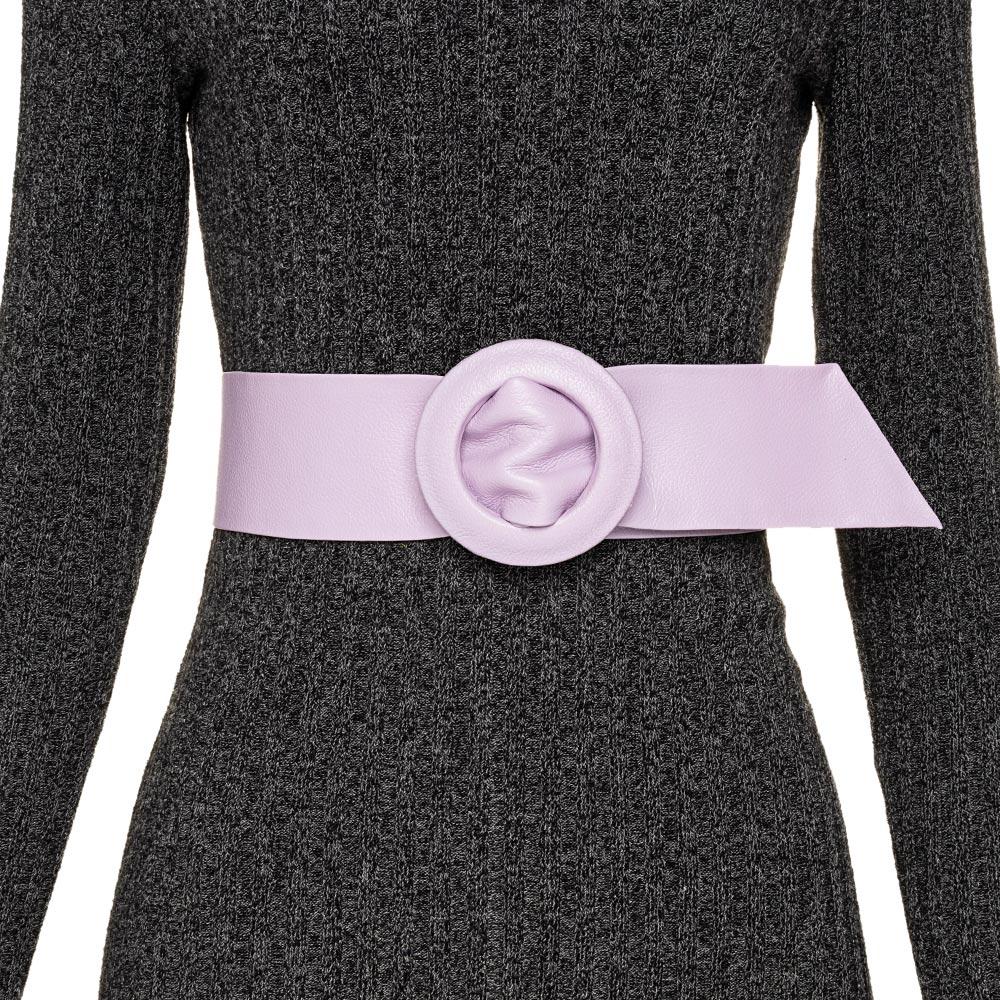 Cinto Faixa de Couro Lilás Encapada - 7 cm -Cintos Exclusivos - Feminino