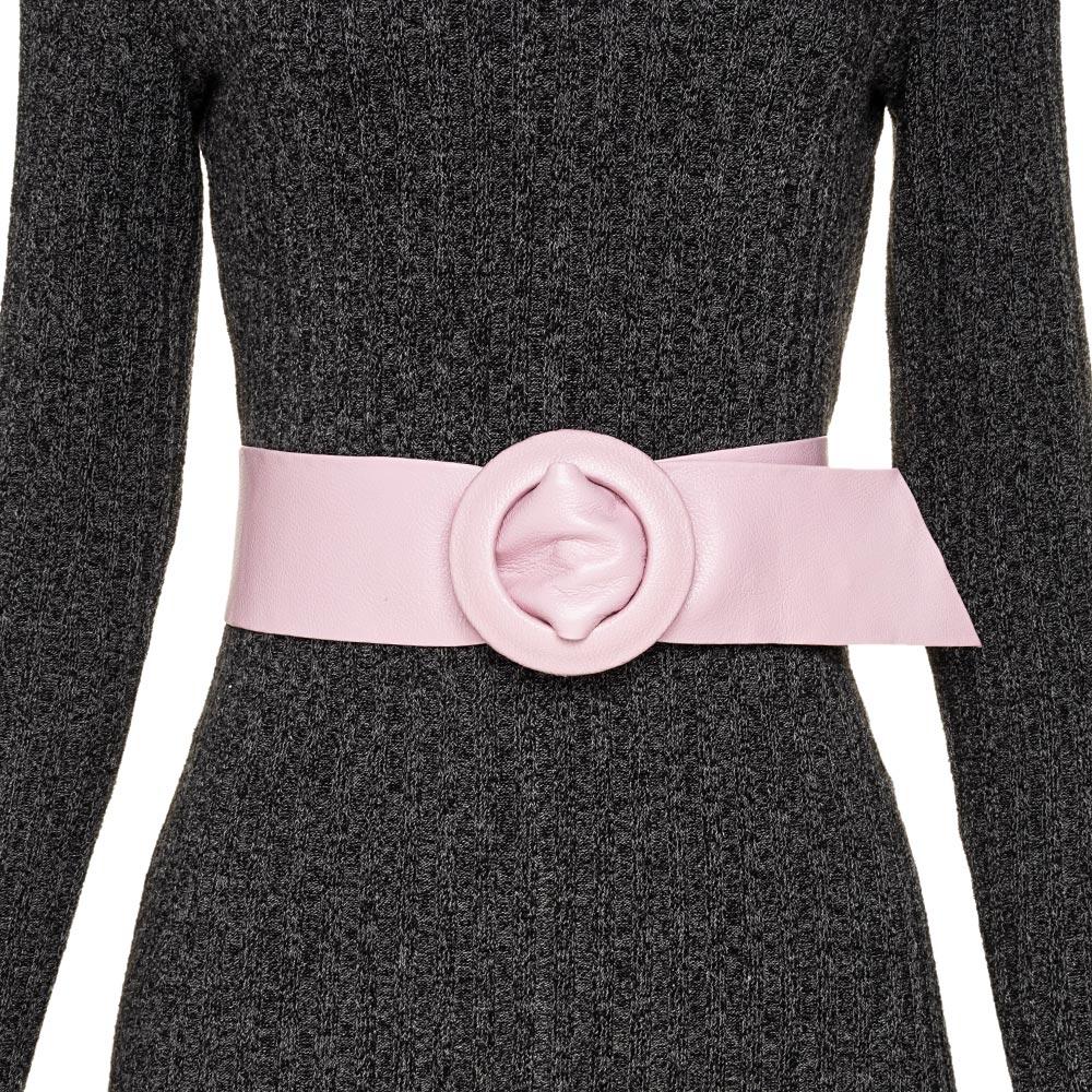 Cinto Faixa de Couro Rosa  - 7 cm -Cintos Exclusivos - Feminino