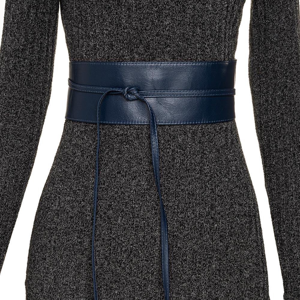 Cinto Faixa Largo Obi de Couro Azul - 7 cm - Cintos Exclusivos VC - Feminino