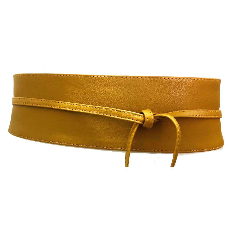 Cinto Faixa Obi de Couro  Amarelo - 7 cm - Cintos Exclusivos - Feminino