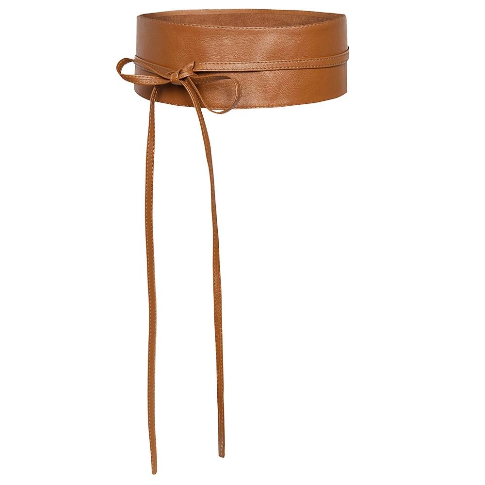 Cinto Faixa Obi de Couro na Cor Caramelo - 7cm - Cintos Exclusivos VC - Feminino