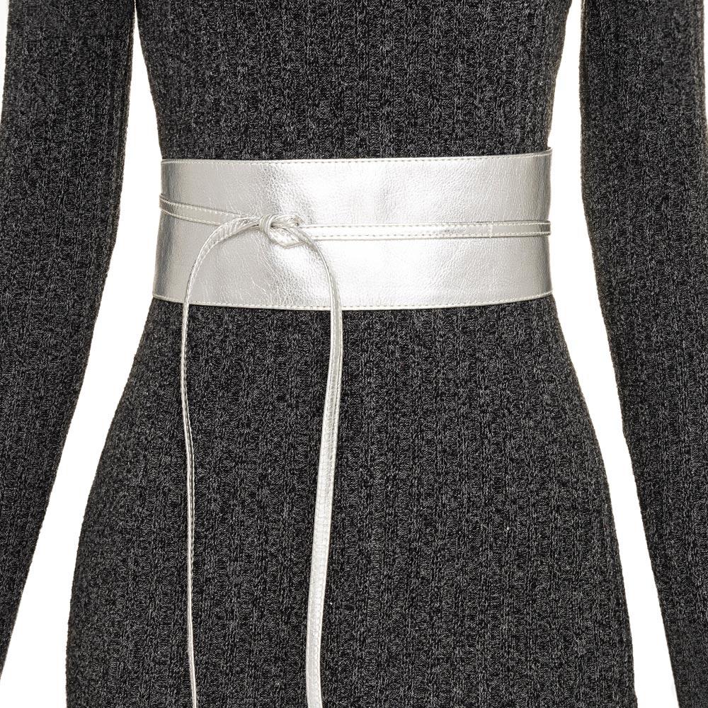 Cinto Faixa Obi de Couro na Cor Prata - 7cm - Cintos Exclusivos - Feminino