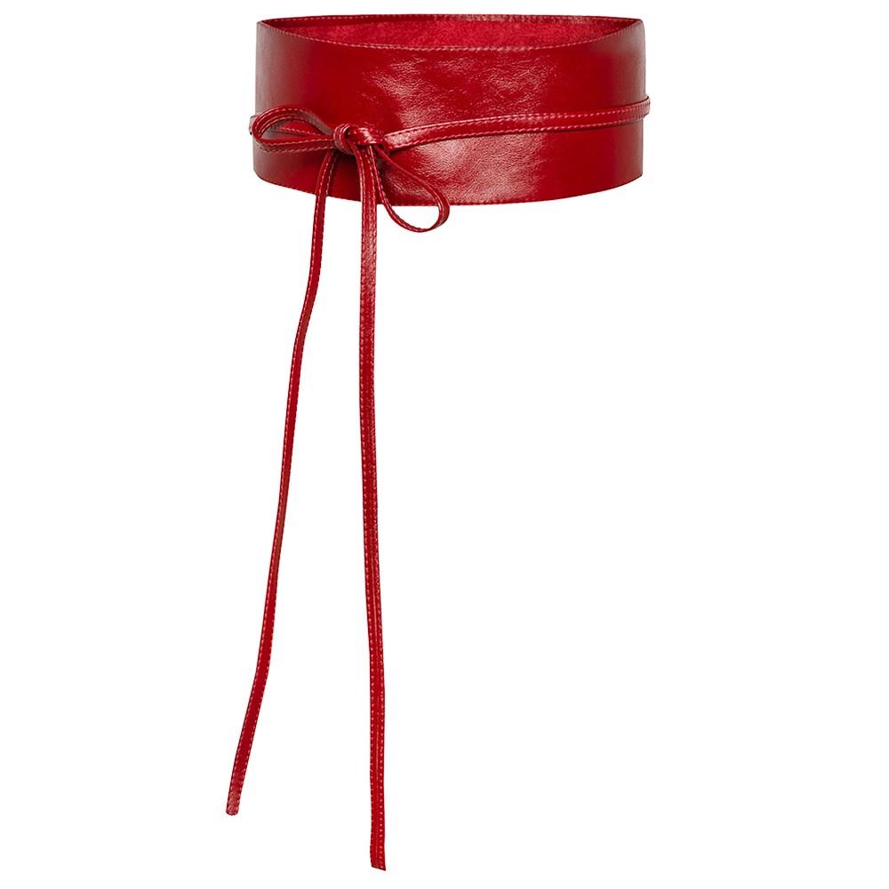 Cinto Faixa Largo Obi de Couro na Cor Vermelho - 7cm - Cintos Exclusivos VC- Feminino